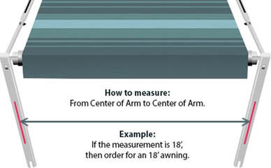 A diagram showing how to measure from center arm to center arm