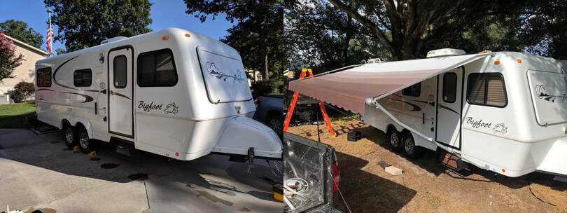 A before and after picture of a trailer getting a complete awning installation