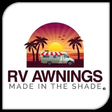 RV Awnings' logo with RV and awning extended under the sun, next to palm trees with